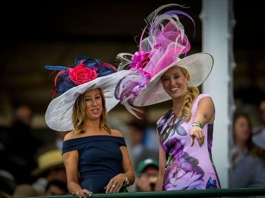 Women in big hats at the Kentuck Derby