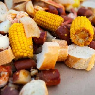 Low Country Boil Prepared and On Table