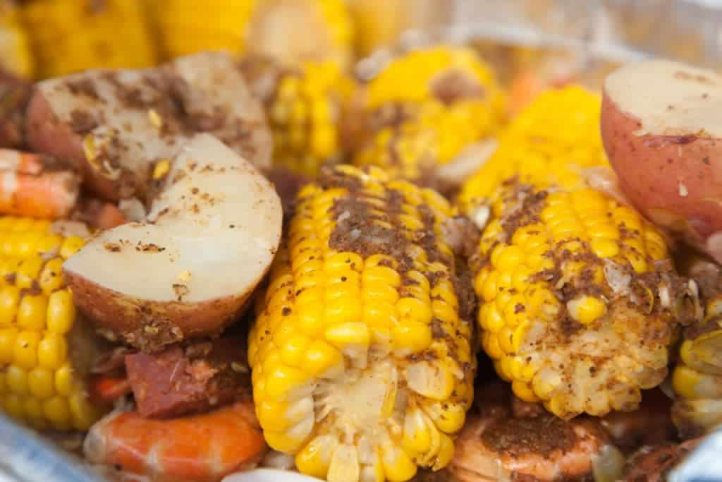 Up Close Low Country Shrimp Boil with Seasonings
