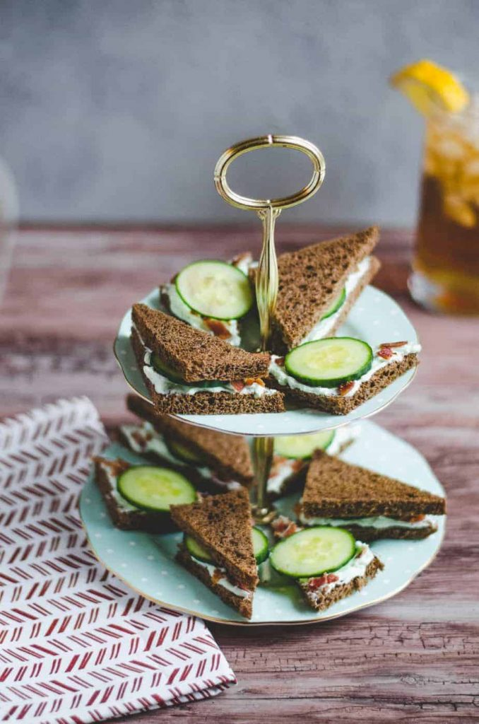 Benedictine sandwiches on rye bread on sandwich tier display