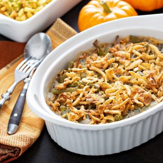 Green beans casserole, traditional side dish for Thanksgiving