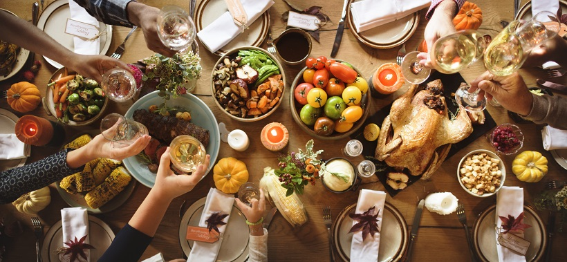 Large table with holiday meal