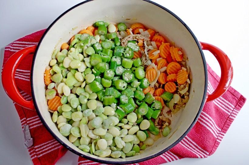 Frozen veggies in dutch oven