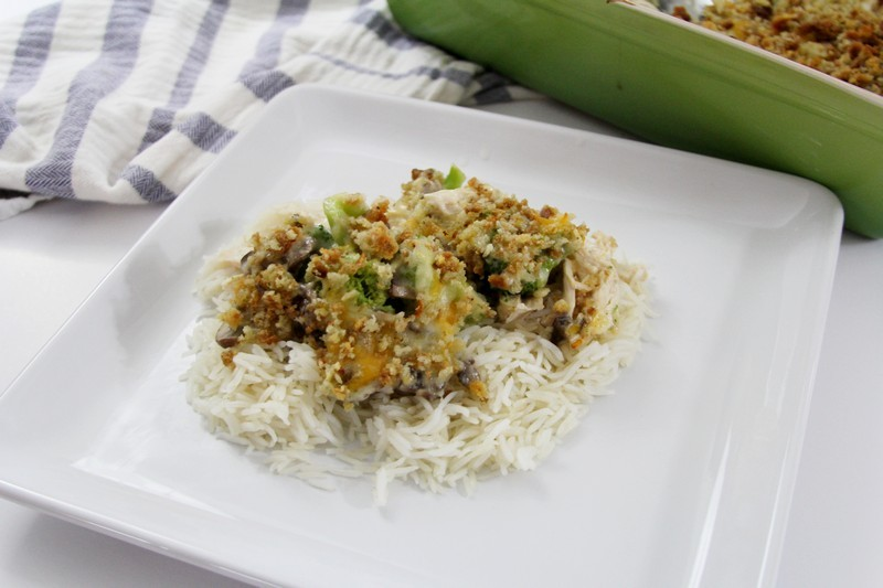Finished chicken divan over rice