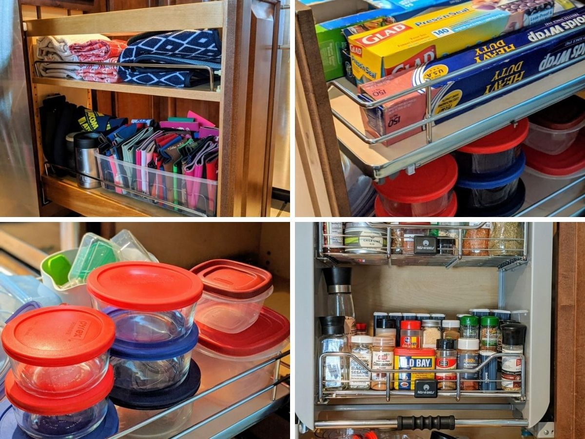 Collage of four images using rev a shelf products for food storage, dish towels, spices.
