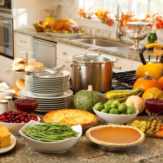 Image of Kitchen with Thanksgiving food dishes