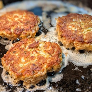 finishing crab cakes on other side in skillet with better