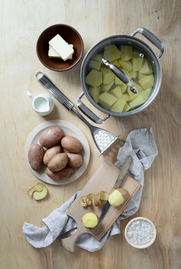Ingredients for Mashed Potatoes laid out on counter top