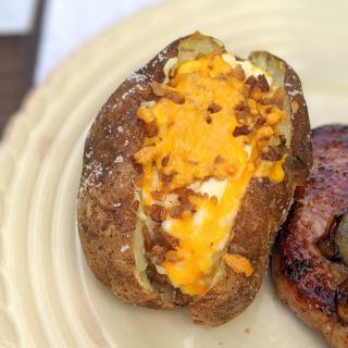 Twice baked potato on a plate