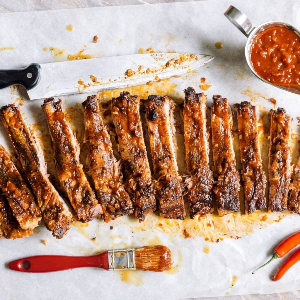 bbq ribs with basting brush