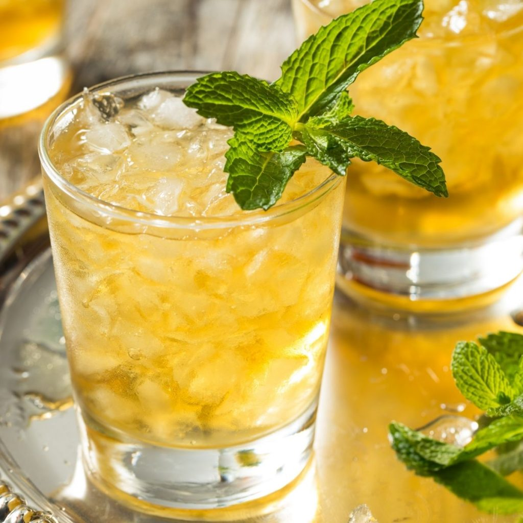 close up of mint julep with mint sprig