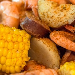 Up close photo of shrimp boil